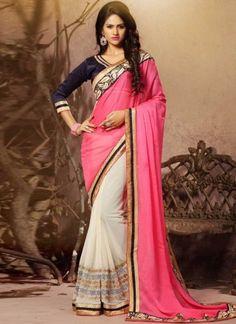 Dazzling Pink White Embroidery Work Chiffon Half Sarees http://www.angelnx.com/Sarees/Designer-Sarees