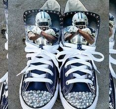 Custom quarter back cowboys converse infused with Swarovski crystals and pearls! If you have details or crystals that youd like me to incorporate I can absolutely do that. This is your custom item, I want you to LOVE it. Please message me with your shoe size (converse tend to run a