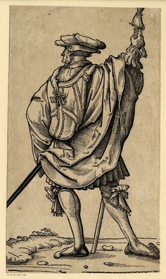 1525-1530 (Circa)     Published by: David de Negker.     Block cut by: Jost de Negker.    A landsknecht turned to left; whole-length figure seen from behind; from a series of fifty landsquenets. c.1525-30 Woodcut