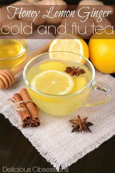 Honey Lemon Ginger Cold and Flu Tea // deliciousobsessions.com // #cold #flu #naturalremedy #natural #health #wellness #remedy #cough