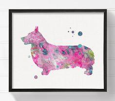 Watercolor Corgi, Corgi Painting, Corgi Art Print, Dog Wall Art, Dog Lover Gift, Dog Art Print, Corgi Poster, Pink Corgi, Dog Poster
