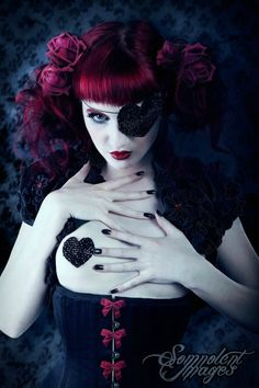 red hair, corset, bow