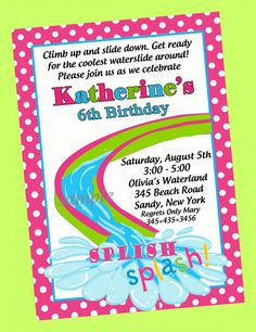 Stylish 6th Pool Themed Birthday Party Invitation Wording With Pink And White Polkadot Card Border 23 Best Pictures From Birthday Party Invitation Wording Birthday Invitations