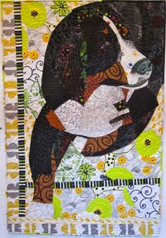 Sepia, a Bernese Mountain Dog, pictorial quilt by Ann P. Shaw 2012, Quilted by Michaelanne Gephart