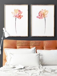 Lotus Flower Coral Watercolor Painting, Colorful Lotuses Art Print Set 2, Pink Red Orange Yellow Abstract Flower Wall Decor, Floral Poster by ColorWatercolor on Etsy