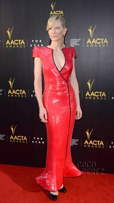 Cate Blanchett wears Armani Prive to the AACTA in Australia.