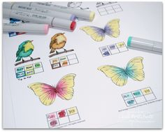Online card class. Did not see the class but love how she has her colors organize and noted.