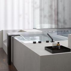 Deque _ bathroom designed by Sieger Design for Dornbracht _ Bathroom Interior, Modern Bathroom, White Bathroom, Minimalist Bathroom, Bathroom Furniture, Master Bathroom, Bathroom Ideas, Minimalist Design, Modern Design