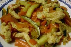 poulet-courgette-et-carottes-au-cookeo. Chicken Zucchini, Chicken Spaghetti Squash, Tuscan Pasta, Marmite, Homemade Muesli, Creamy Chicken, Tray Bakes, Casserole Recipes, Cake Recipes