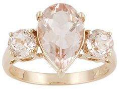 Cor-de-rosa Morganite 3.15ctw Pear Shape And Round 10k Rose Gold Ring Erv $407.00