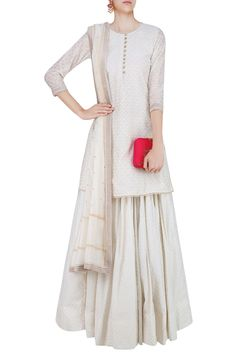 Off white pearl embroidered short kurta and skirt set available only at Pernia's Pop Up Shop.