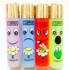 4 x MINI Small CLIPPER FUNNY CHARACTER FACE DESIGN Gas Refillable LIGHTERS