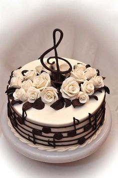 Cake Decorating - How To Apply Edible Cake Art Music Themed Cakes, Music Cakes, Bolo Musical, Piano Cakes, Happy Birthday Cakes, Cake Birthday, Happy Birthday Cake Pictures, Birthday Images, 50th Birthday