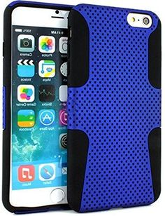 """myLife 2 Layer Neo Hybrid Bumper Case for iPhone 6 Plus (5.5"""" Inch) by Apple {Royal Blue + Black """"Perforated Mesh Net Design"""" Two Piece SECURE-Fit Rubberized Gel} myLife Brand Products http://www.amazon.com/dp/B00OYFUP3O/ref=cm_sw_r_pi_dp_0E8vub0RSKTM6"""