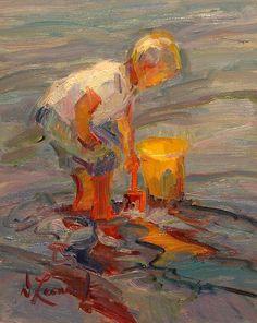 A Boy's Time by Diane Leonard in oil