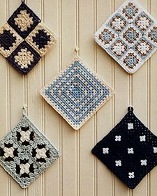 Granny Squares - Martha Stewart Crafts -- Instead of a plate wall do a vintage granny square wall????? LOVE!!