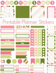 Free pink and green printable planner stickers! To Do Planner, Free Planner, Happy Planner, Planner Ideas, Printable Planner Stickers, Free Printable, Printables, Planning Calendar, Planner Sheets