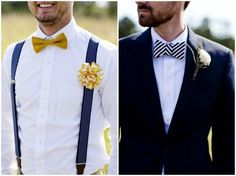 hipster groom look - bow ties and suspenders