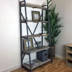 Rustic Tapered Metal Shelf Unit - The Farthing