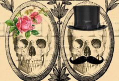 Doll Face Designs' Victorian Skull Day of the Dead invite, features sketched skulls with a fun top hat and moustache and feminine pink flowers.