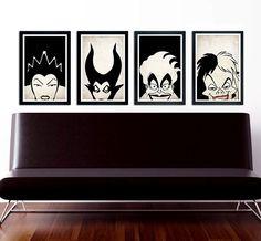 Villains poster set Maleficent The Evil Queen door CustomSneakz