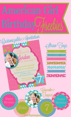 American Girl Birthday Party Freebies - Free Printable American Girl Inspired Birthday Invitation, Cupcake Toppers, Straw Tags