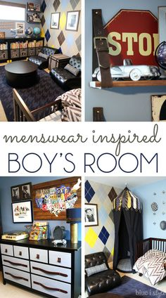 ADORABLE! This menswear inspired boys room was designed to grow with the boys for many years. This vintage preppy space includes nearly 20 DIY projects, including the hand-painted are going to wall, the necktie talked play tent, hanging belt shelves, and leather belt drawer pulls.