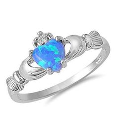 Irish Heart Shape Blue Opal Cz Claddagh Ring
