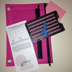 """Braille Note Kit: Janus slate and stylus (from APH), index cards, and an alphabet card all tucked in a pencil case. I made these for all my kids so they can practice their Braille, help their brother, and write """"secret messages"""" to one another."""