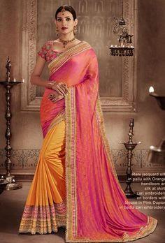 Pink And Orange Designer Party Wear Saree