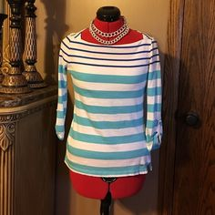 Tommy Hilfiger Spring Boatneck Top. Perfect for spring!  This Boatneck top has button sleeves and is so cute!  No rips, stains or tears.  3/4 sleeves. (Necklace is also for sale). Tommy Hilfiger Tops