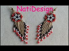 Beaded Jewelry Designs, Seed Bead Jewelry, Bead Jewellery, Seed Bead Earrings, Beaded Earrings, Earring Tutorial, Beading Tutorials, Bead Weaving, Jewelry Crafts