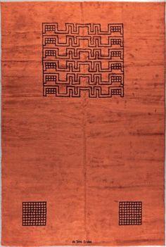 """D'après un modèle d'Ivan DA SILVA BRUHNS (1881-1980) #Tapis au point de la savonnerie. Décor géométrique sur fond lie de vin. Signature """"da Silva Bruhns"""" tissée à une extrémité du tapis. Tissage vers 1930. 450 x 300 cm Vente aux #encheres du 14/07/14 par Artime Enchères"""