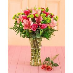 Pink Umbellatum Lilies & Hot pink/ Cerise Pink Roses with green button chrysanthemums / pom poms in a Vase Small Flower Arrangements, Small Flowers, Pink Flowers, Beautiful Flowers, Pink Roses, Best Online Flowers, Order Flowers Online, Tall Glass Vases, Rose Vase