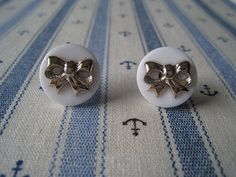Button Bow Earrings Studs