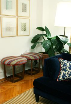 Contrast welt - navy velvet     Little Green Notebook: Turning Vintage Side Tables into Upholstered Stools