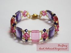 Beautiful crystal bracelet design by BeeJang - easy beginner piece. Tutorial included.