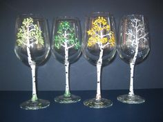 Handpainted Wine Glasses for the 4 seasons: Spring, Summer, Fall & Winter.
