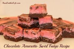 A marvelous blending of chocolate, vanilla and almond combine to make this lush and decadent Chocolate Amaretto Swirl Fudge Recipe. Amaretto Fudge Recipe, Chocolate Raspberry Fudge Recipe, Holiday Desserts, Holiday Recipes, Christmas Recipes, Fudge Recipes, Dessert Recipes, Sugar Free Milk, Decadent Chocolate