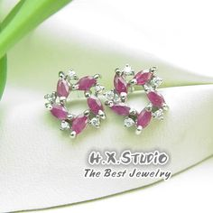Genuine Ruby 925 Sliver Ear Stud, Sterling Silver Ruby Earrings Studs, Wholesale Available