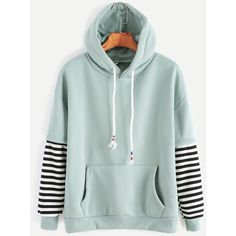 SheIn(sheinside) Pale Green Sleeve Striped Drawstring Hooded... ($16) ❤ liked on Polyvore featuring tops, hoodies, blue, hoodies pullover, green pullover hoodie, striped hoodie, green hoodies and pullover hoodies