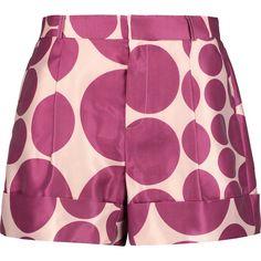 Raoul Polka-dot satin-twill shorts ($175) ❤ liked on Polyvore featuring shorts, skirts, magenta, high waisted pleated shorts, twill shorts, dotted shorts, cuffed shorts and satin shorts