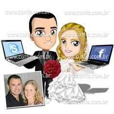 Caricatura para casamento - Noivos Raquel e Robson - noivinhos cuttie