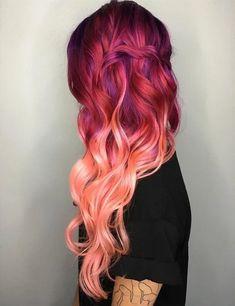 Fun Hairstyles for Long Pink Hair hair color Cool hair color pink and color hair - Pink Things Red Pink Hair, Long Pink Hair, Hair Color Purple, Cool Hair Color, Hair Colors, Purple Ombre, Color Red, Ombre Colour, Coral Hair