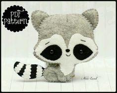 Cute raccoon PDF Pattern от Noialand на Etsy This PDF hand sewing pattern will give you instructions and patterns to make the raccoon pictured Size: 5 Felt Diy, Felt Crafts, Felt Patterns, Sewing Patterns, Sewing Crafts, Sewing Projects, Sewing Toys, Sewing Tutorials, Cute Raccoon