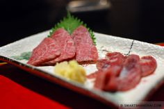Another from our Shanghai office, and likely to be a little controversial given recent UK food scares - horse sashimi. Found on the menu at the Japanese izakaya (a bar with 'eats') Kushi An in Shanghai. A review here http://www.smartshanghai.com/articles/dining/eat-it-kushi-an