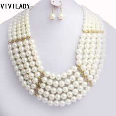 Special price VIVILADY Fashion Handmade Imitation Pearls Layers Chain Jewelry Sets Women Beads Necklaces Earrings Costume African Wedding Gift just only $7.40 with free shipping worldwide  #weddingengagementjewelry Plese click on picture to see our special price for you