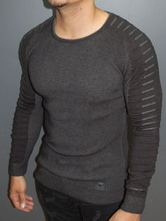 R&R men stylish side arm ribbed crew neck sweater - dark gray Mens Fashion Blazer, Mens Fashion Sweaters, Stylish Mens Fashion, Men's Fashion, Fashion Clothes, Stylish Menswear, Parisian Fashion, Fashion Blogs, Fashion Menswear