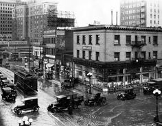 A rainy day in downtown Los Angeles, circa 1925. Corner of Main and 10th Streets. (LAPL) Bizarre Los Angeles