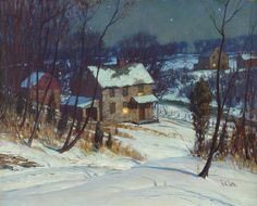 George Sotter, Pennsylvania Impressionist, The Neighbors House, 15 x 19 oil on board Summer Painting, Winter Painting, Winter Art, Cozy Winter, American Impressionism, Impressionist Art, Great Paintings, Landscape Paintings, Nocturne